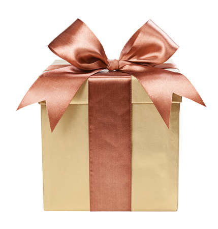 Photo for Gold box with gifts and brown bow - Royalty Free Image
