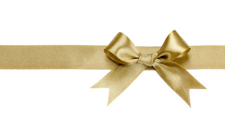 Photo for Gold ribbon with bow isolated on white background - Royalty Free Image