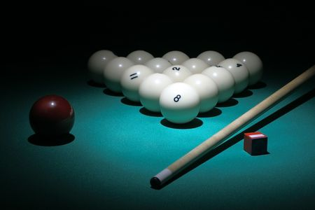 Billiard. Balls pyramid fith number 8 ball on a foreground.