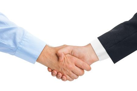 Foto de Handshake hands isolated on white background - Imagen libre de derechos