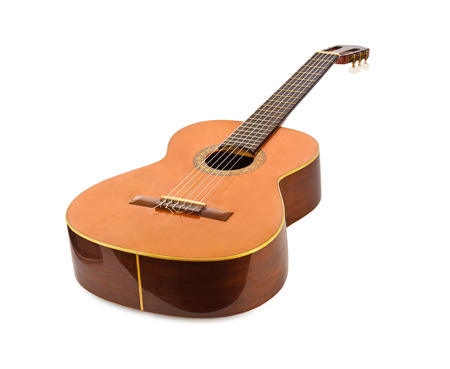 Photo for Classical acoustic guitar isolated on white background - Royalty Free Image