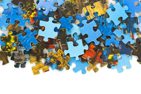 Photo pour Pieces of puzzle isolated on white background - image libre de droit