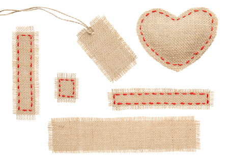 Photo for Sackcloth Heart Shape Patch Tag Label Object with Stitches Seam, Burlap Isolated over White Background - Royalty Free Image