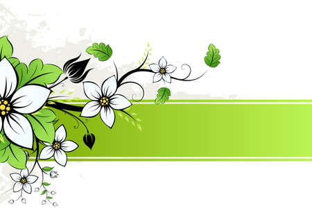 Grunge Vector AD with spring flowers and leaves