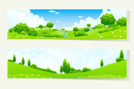 Photo pour Two Green Horizontal Banners with Nature Landscape - image libre de droit