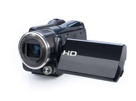 Foto de Digital video camera isolated on white background - Imagen libre de derechos