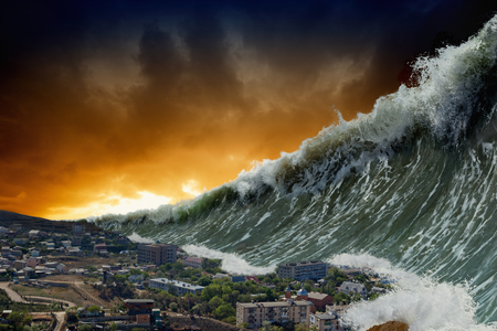 Foto de Apocalyptic dramatic background - giant tsunami waves crashing small coastal town - Imagen libre de derechos