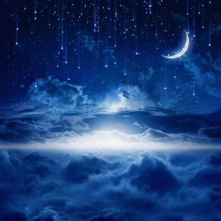 Foto de Peaceful background, blue night sky with moon, falling stars, beautiful clouds, glowing horizon. Elements of this image furnished by NASA - Imagen libre de derechos