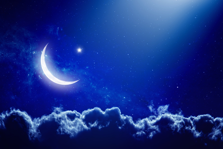 Foto de Eid Mubarak background with moon and stars, holy month, Ramadan Kareem.   - Imagen libre de derechos