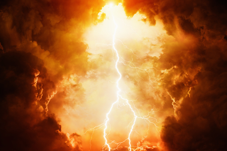 Photo pour Apocalyptic dramatic background - bright lightning in dark red stormy sky, judgment day, hell - image libre de droit