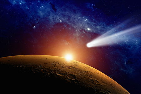 Abstract scientific background - comet approaching planet Mars.