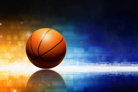 Photo pour Abstract sports background - basketball with reflection, orange and blue glowing lights - image libre de droit