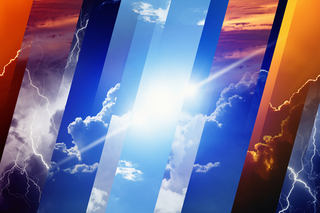 Photo for Weather forecast concept background - variety weather conditions, bright sun and blue sky; dark stormy sky with lightnings; sunset and night - Royalty Free Image