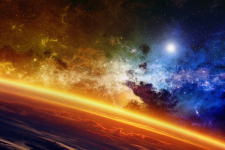 Photo for Abstract scientific background - red glowing planet, nebula and stars in space.  - Royalty Free Image