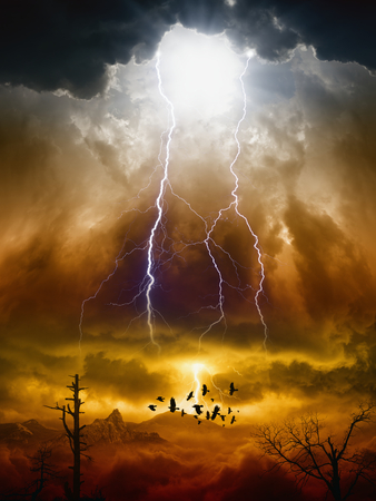Foto de Apocalyptic dramatic background - lightnings in dark red sky, flock of flying ravens, crows in dark red moody sky, judgment day - Imagen libre de derechos