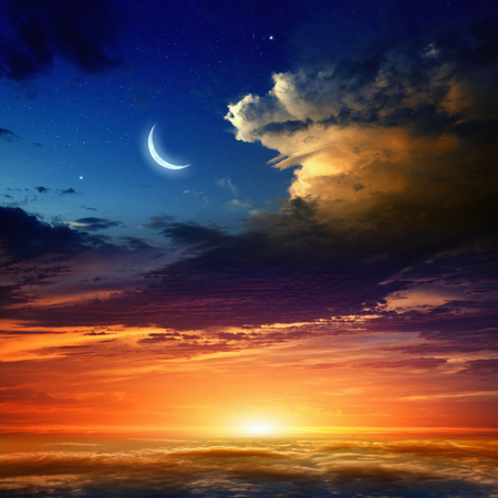 Foto de Beautiful background - new moon in dark blue sky with stars, glowing sunset clouds. Elements of this image furnished by NASA nasa.gov - Imagen libre de derechos