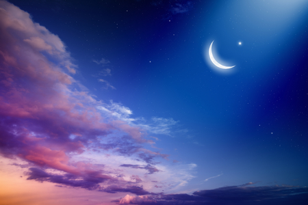Foto de Ramadan Kareem background with moon and stars, holy month. - Imagen libre de derechos