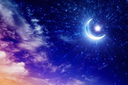 Foto de Ramadan Kareem background with shining moon and stars, holy month - Imagen libre de derechos