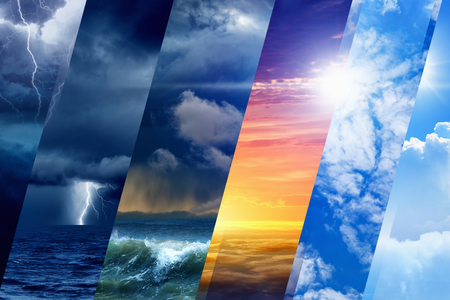 Photo for Weather forecast background - variety weather conditions, bright sun and blue sky; dark stormy sky with lightnings - Royalty Free Image