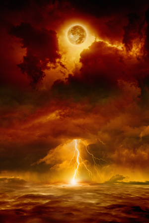 Photo pour Dramatic apocalyptic background - dark red sky with full moon and lightning, end of world, judgment day.  - image libre de droit