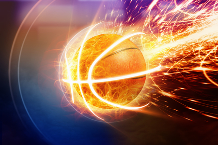 Photo pour Abstract sports background - burning basketball, orange glowing lights - image libre de droit