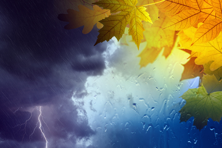 Seasonal autumn background, collage with orange and yellow leaves outside window glass with rain drops, stormy rainy weather with lightning in dark clouds. Season is fall.