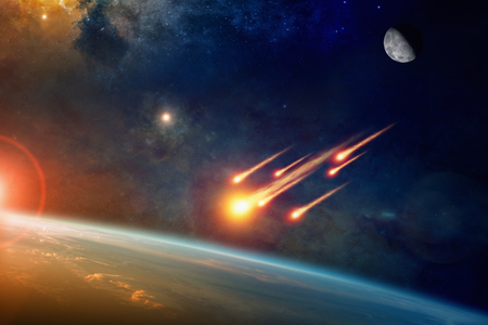 Photo pour Asteroid impact, end of world, judgment day. Group of burning exploding asteroids from deep space approaches to planet Earth - image libre de droit