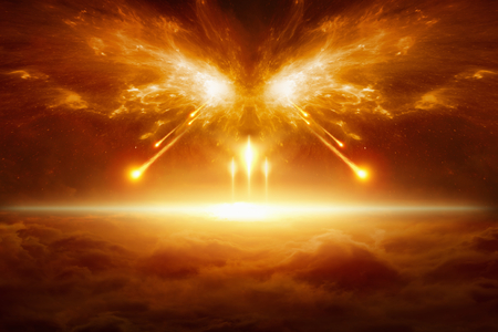 Photo pour Apocalyptic religious background - end of the world, battle of armageddon, forces of evil destroy humanity - image libre de droit