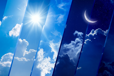 Photo for Opposites in nature: day and night, light and darkness, sun and moon. Weather forecast background. - Royalty Free Image