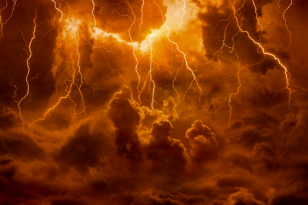 Foto de Dramatic religious background - hell realm, bright lightnings in dark red apocalyptic sky, judgement day, end of world, eternal damnation - Imagen libre de derechos