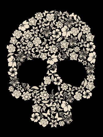 flowers ornated human skull vector