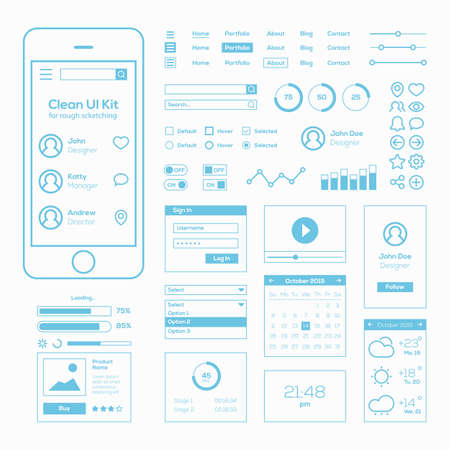 Illustration pour Clean Mobile Web UI Kit - image libre de droit