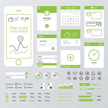 Illustration pour Flat Green Mobile Web UI Kit - image libre de droit