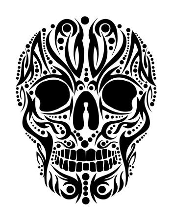 Illustration for tattoo tribal skull vector art - Royalty Free Image