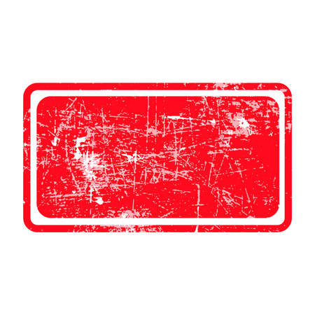 Illustration pour red rectangular grunge stamp with blank siolated on white background - image libre de droit