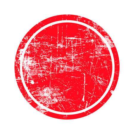 Ilustración de red circle grunge stamp with blank siolated on white background - Imagen libre de derechos