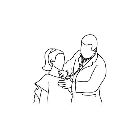 Illustration pour Doctor examining chest of a patient with stethoscope. Outline sketch, hand drawn with black lines on white background. - image libre de droit