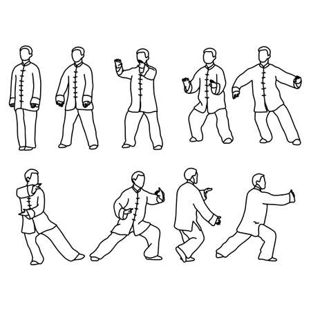 Photo pour Nine forms of Tai-chi. Men wear traditional chinese cloths vector illustration sketch hand drawn with black lines, isolated on white background - image libre de droit