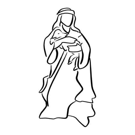 Ilustración de shepherd holding a sheep in nativity scene vector illustration sketch doodle hand drawn with black lines isolated on white background - Imagen libre de derechos