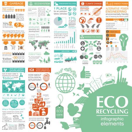 Illustration pour Environment, ecology infographic elements. Environmental risks, ecosystem. Template. Vector illustration - image libre de droit