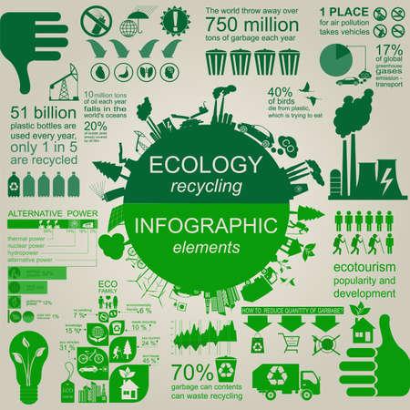 Ilustración de Environment, ecology infographic elements. Environmental risks, ecosystem. Template. Vector illustration - Imagen libre de derechos