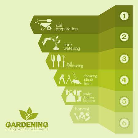 Illustration pour Garden work infographic elements. Working tools set. Vector illustration - image libre de droit