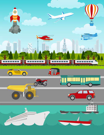 Ilustración de Transport infographics elements. Cars, trucks, public, air, water, railway transportation. Retro styled illustration. Vector - Imagen libre de derechos