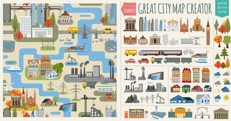 Illustration pour Great city map creator.Seamless pattern map and  Houses, infrastructure, industrial, transport, village and countryside set. Make your perfect city. Vector illustration - image libre de droit