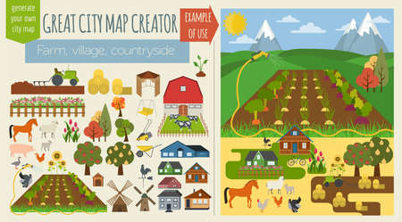 Illustration pour Great city map creator.Seamless pattern map. Village, farm, countryside, agriculture. Make your perfect city. Vector illustration - image libre de droit