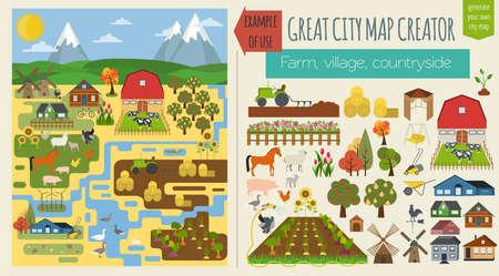 Ilustración de Great city map creator.Seamless pattern map. Village, farm, countryside, agriculture. Make your perfect city. Vector illustration - Imagen libre de derechos