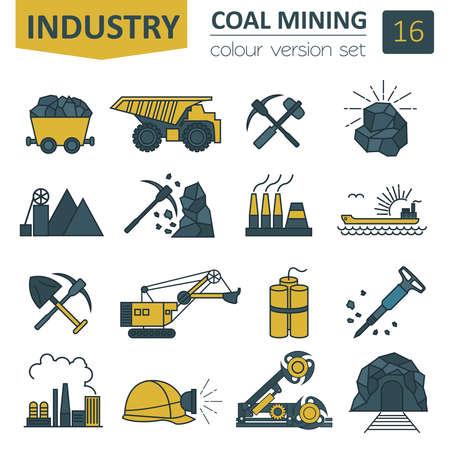 Ilustración de Coal mining icon set. Colour version design. Vector illustration - Imagen libre de derechos