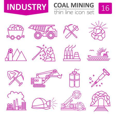 Ilustración de Coal mining icon set. Thin line icon design. Vector illustration - Imagen libre de derechos