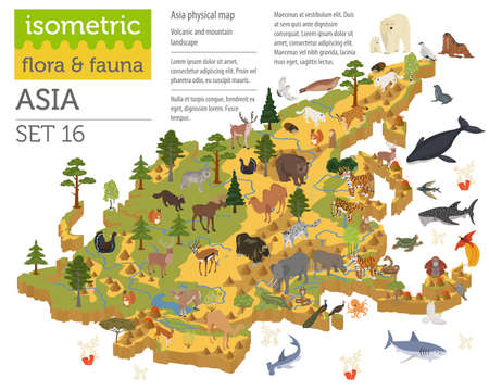 Ilustración de Isometric 3d Asian flora and fauna map constructor elements. Animals, birds and sea life isolated on white big set. Build your own geography infographics collection. Vector illustration - Imagen libre de derechos