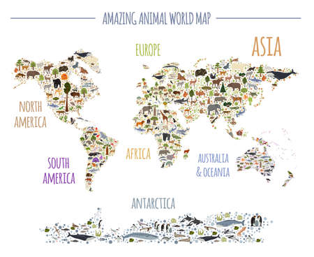 Illustration pour Flat world flora and fauna map constructor elements. Animals, birds and sea life isolated big set. Build your own geography infographics collection. Vector illustration - image libre de droit